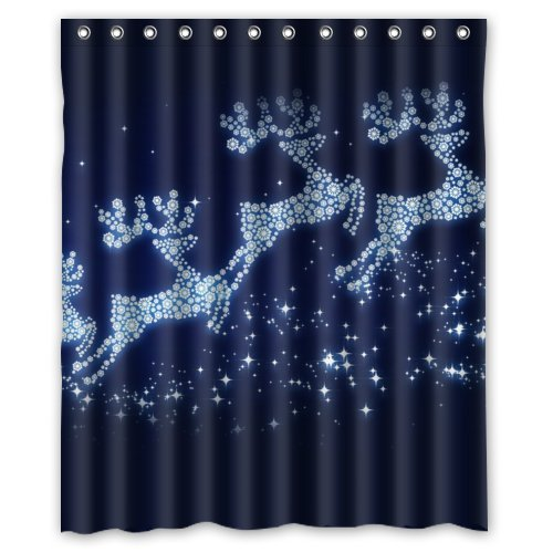 GreenDecor Christmas Reindeer Waterproof Shower Curtain Set with Hooks Bathroom Accessories Size 60x72 inches