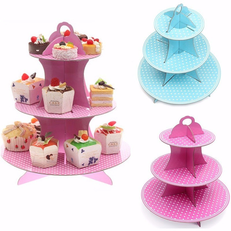 3 Tier Cardboard Cupcake Stand Plates Kids Birthday Party Cake Muffin Holder,Pink color