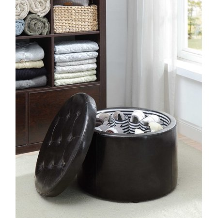 Convenience Concepts Round Shoe Storage Ottoman