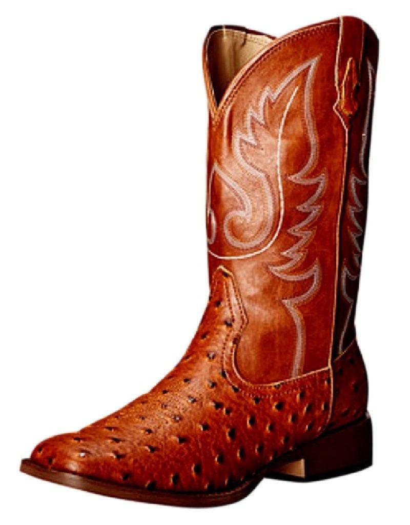 Roper Western Boots Womens Ostrich Square Toe Tan 09-021-1900-0807 TA