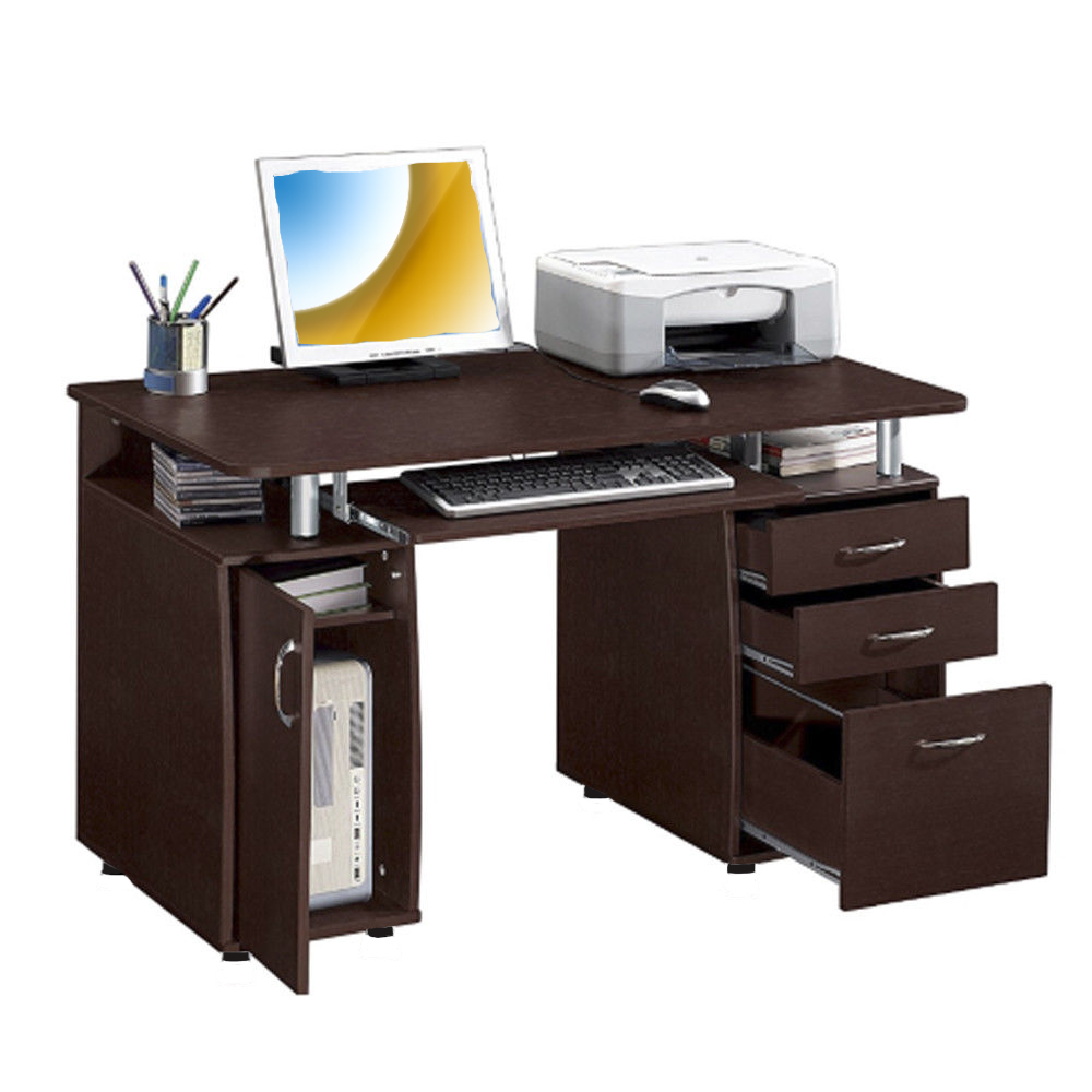 Ktaxon Brown Computer PC Desk Home Office Study Writing Table 3 Drawers Bookcase
