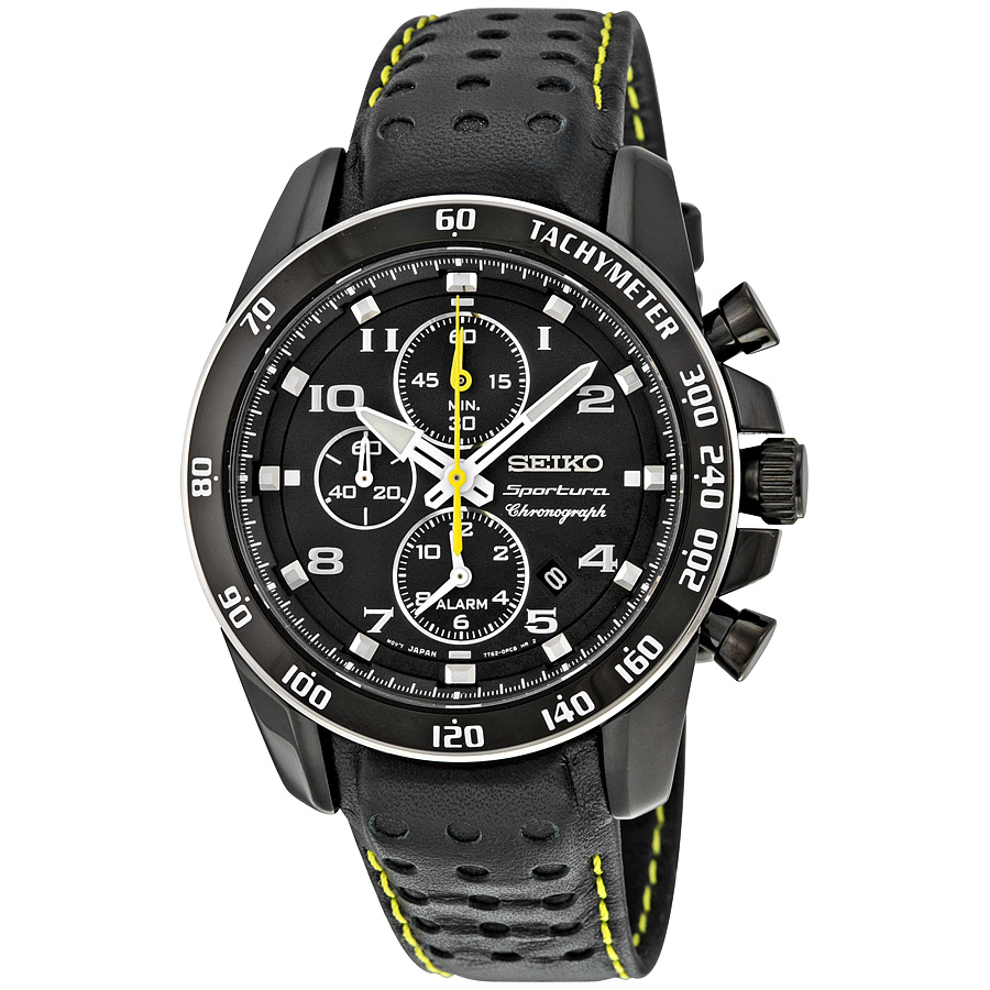 Seiko Sportura Chronograph Alarm Black Dial Mens Watch SN...