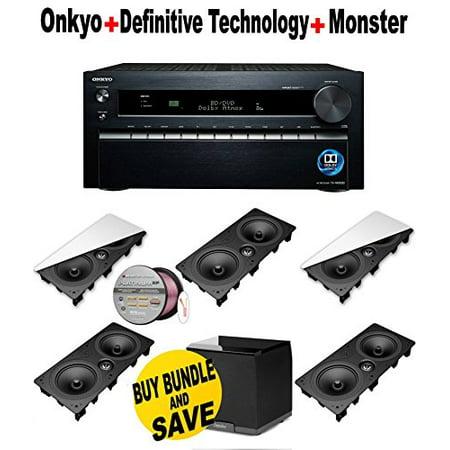 Onkyo TX-NR3030 11.2-Ch Dolby Atmos Ready Network A/V Receiver w/ HDMI 2.0 + 5 Definitive Technology - DI65LCR +