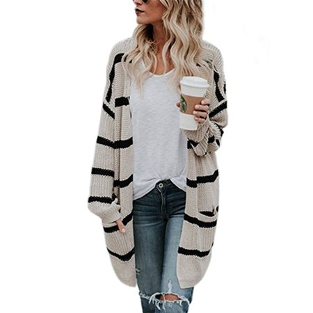 Knitted Outerwear - Women Loose Knitted Sweater Cardigan Coat Jacket Long Sleeve Knit Winter Outwear Striped Knitwear Outerwear Casual Tops