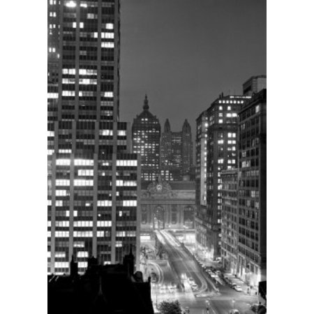 USA New York State New York City Grand Central area with Park Avenue ramp on Park Ave to Grand Central Station night Poster Print](Party City Central Ave)