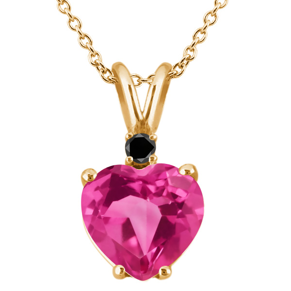 2.46 Ct Pink Created Sapphire Black Diamond  YG Plated Silver Pendant