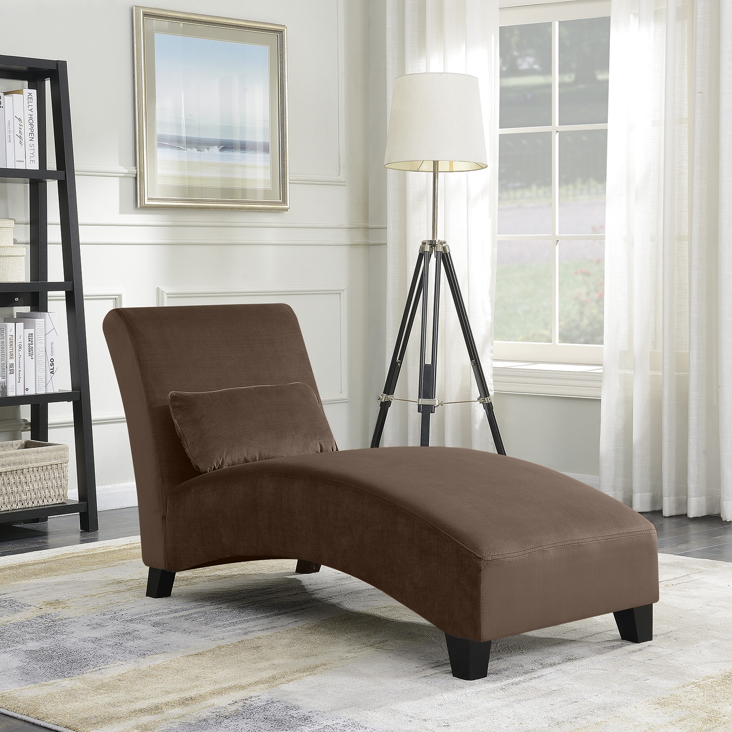 Belleze Chaise Lounge Indoor Furniture Living Room Chair Contemporary Sofa Couch Hardwood Legs, Brown