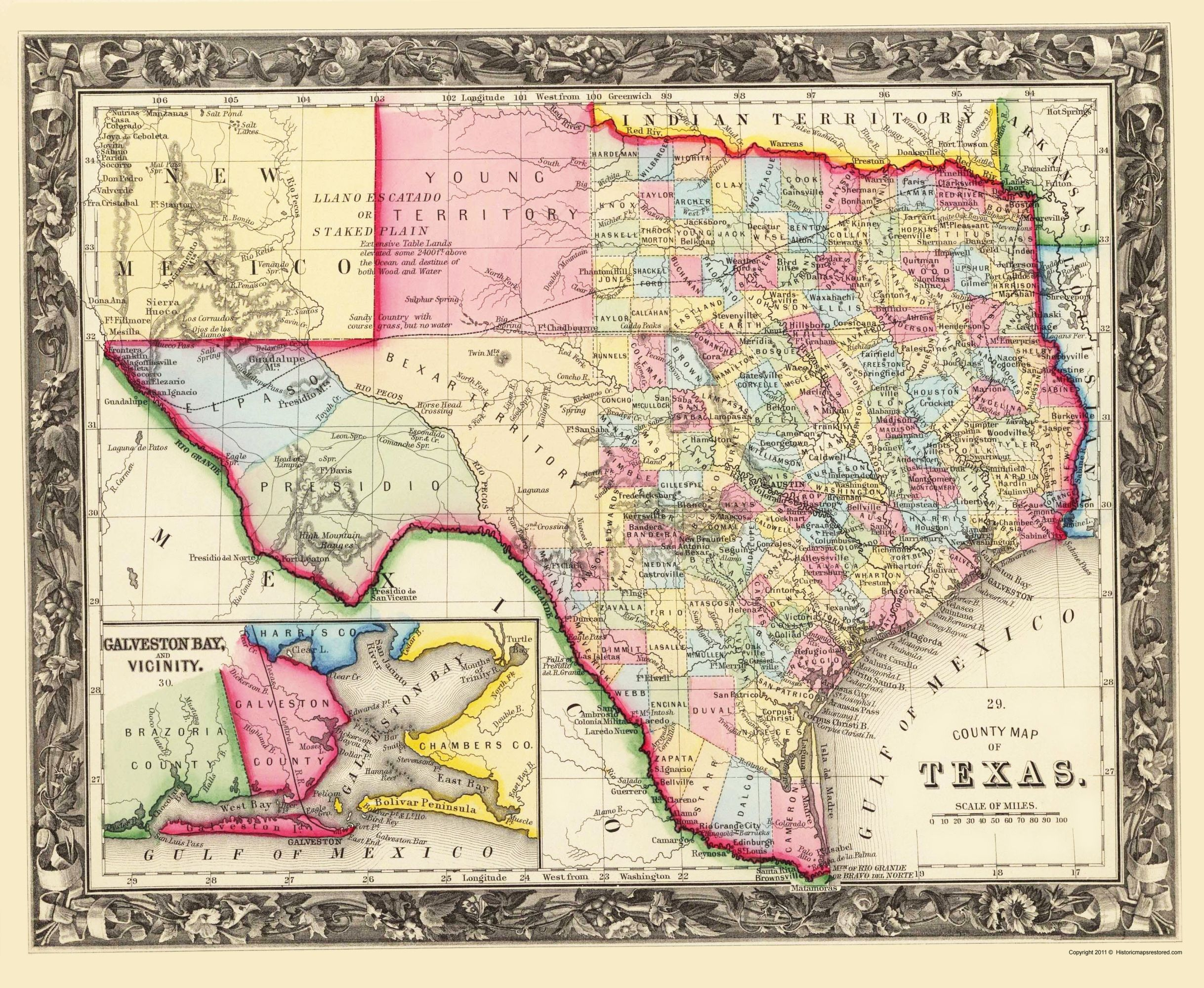 Mitchell 1860-23 x 28.03 Texas State and County
