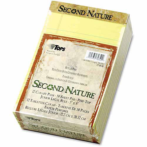 """TOPS Second Nature Recycled Pad, Jr. Legal, 5"""" x 8"""", Canary, 50 Sheets per Pad, 12-Pack"""
