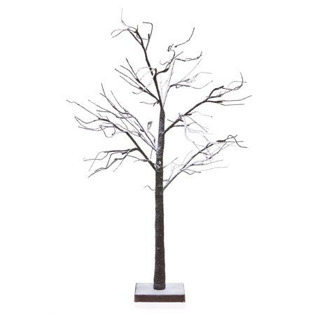 48 Led Lighted Poseable Snowy Brown Leafless Twig Tree Christmas Table Top Decoration Warm