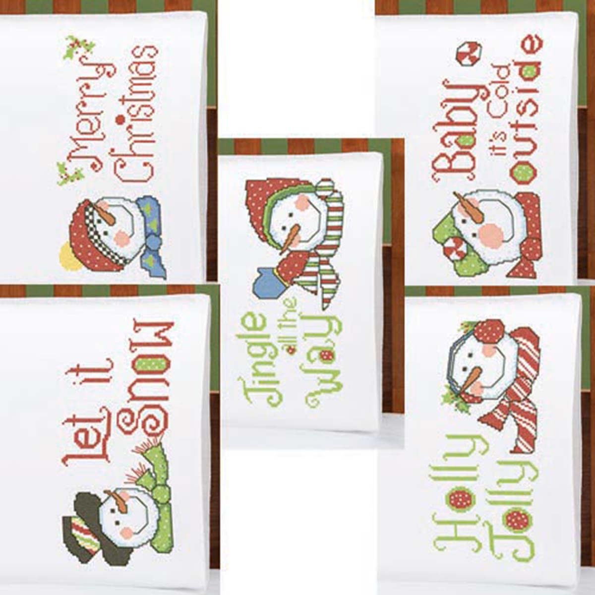 Herrschners® Jingle All the Way Pillowcase Pairs Stamped Cross-Stitch