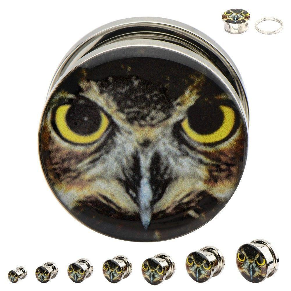Owl Ear Gauges Surgical Steel Screw Fit Plugs with Set Of 2