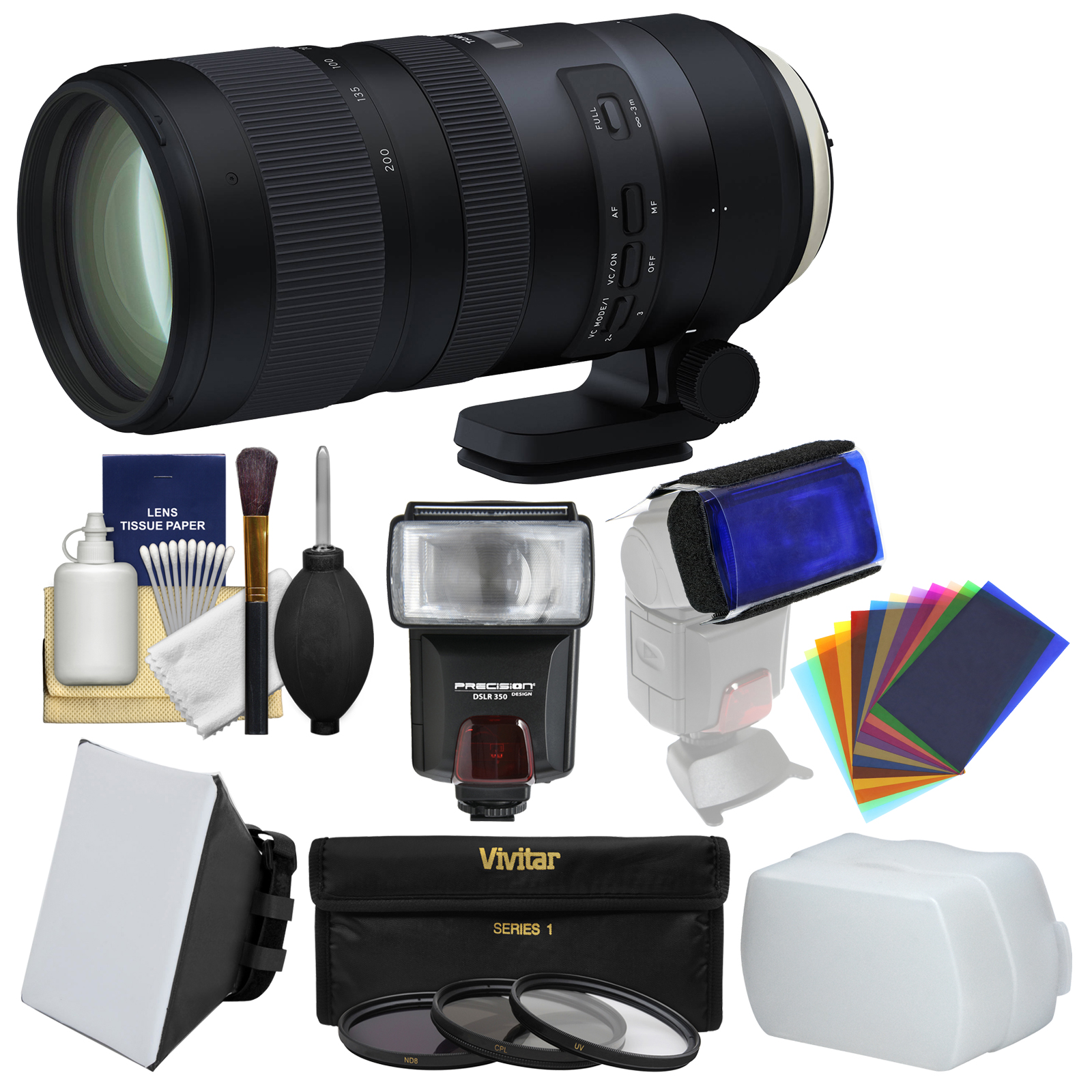 Tamron 70-200mm f 2.8 Di VC USD G2 Zoom Lens + 3 UV CPL ND8 Filters + Flash + Soft Box + Diffuser + Gel... by Tamron