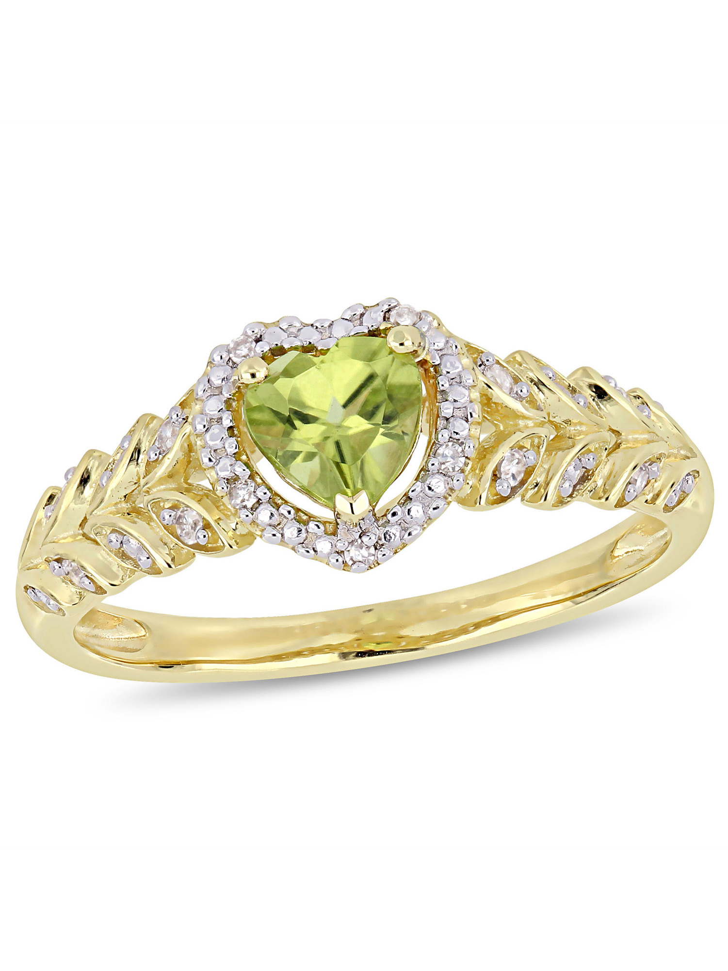Tangelo 1 2 Carat T.G.W. Peridot and Diamond-Accent 10kt Yellow Gold Heart Halo Ring by Delmar