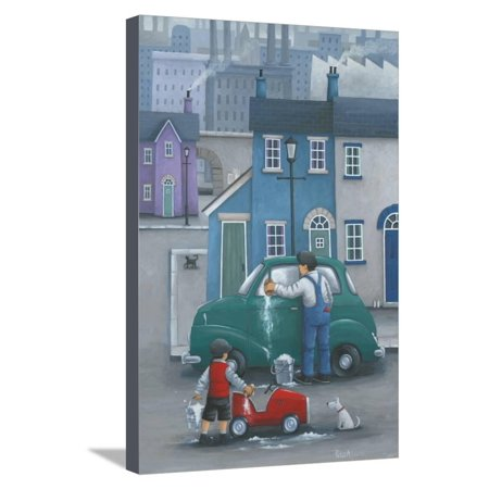 Like Father? Father and Son Washing Cars Gift for Dad Father's Day Painting Artwork Stretched Canvas Print Wall Art By Peter Adderley (Paintings For Cars)
