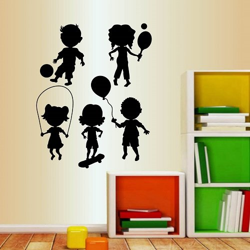 Zoomie Kids Cute Little Kids Playing Wall Decal