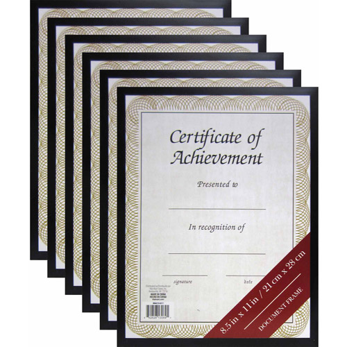"8.5"" x 11"" Black Document Frame, Set of 6"
