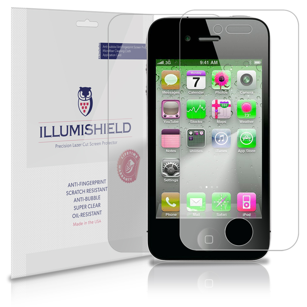 iLLumiShield Phone Screen Protector w Anti-Bubble/Print 3x for Apple iPhone 4