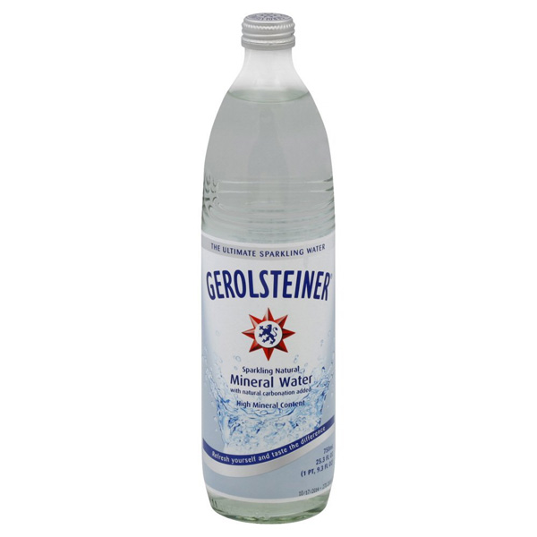 Gerolsteiner Sparkling Natural Mineral Water 25.3 oz Glass Bottles Pack of 15 by
