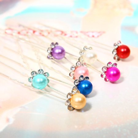 OUTAD 1 pcs Simulated-Pearl Crystal Flowers Hair Clip Hairpin Jewelry Acessories - image 5 of 13