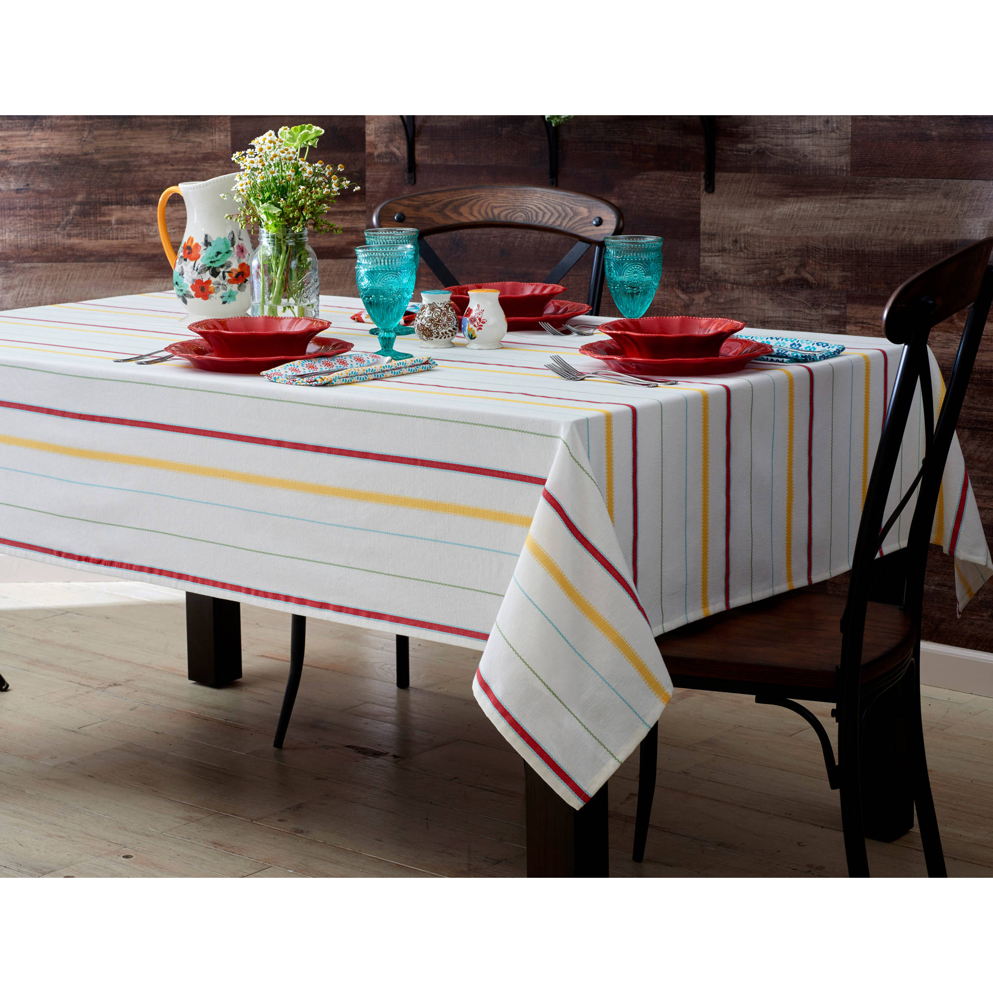 The Pioneer Woman Vintage Stripe Tablecloth Available In Multiple Sizes