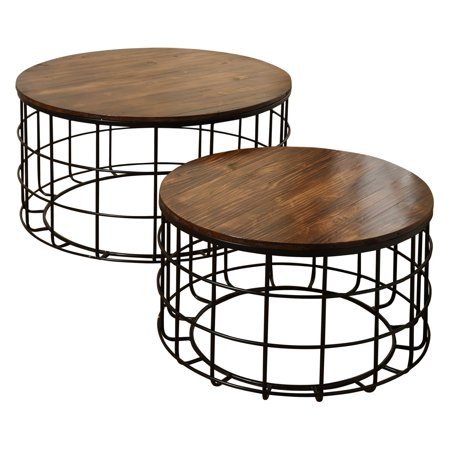 Round Wood Nested Coffee Tables Chinese Cherry Top Black Powder Coat Frame 2 Piece Set