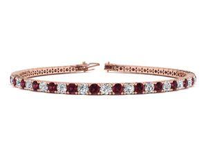 7 Inch 4 1 4 Carat Garnet And Diamond Tennis Bracelet In 14K Rose Gold by