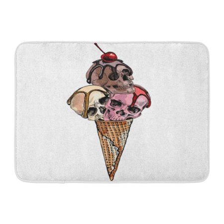 GODPOK Skeleton Food Ice Cream Cone with Skulls and Cherry Halloween Cute Rug Doormat Bath Mat 23.6x15.7 inch (Cute Easy Halloween Food)