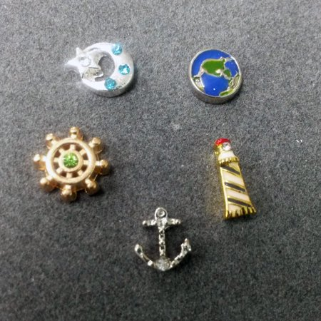 5 PC - Nautical Theme Enamel Silver Gold Charm for Floating Locket Jewelry T0208
