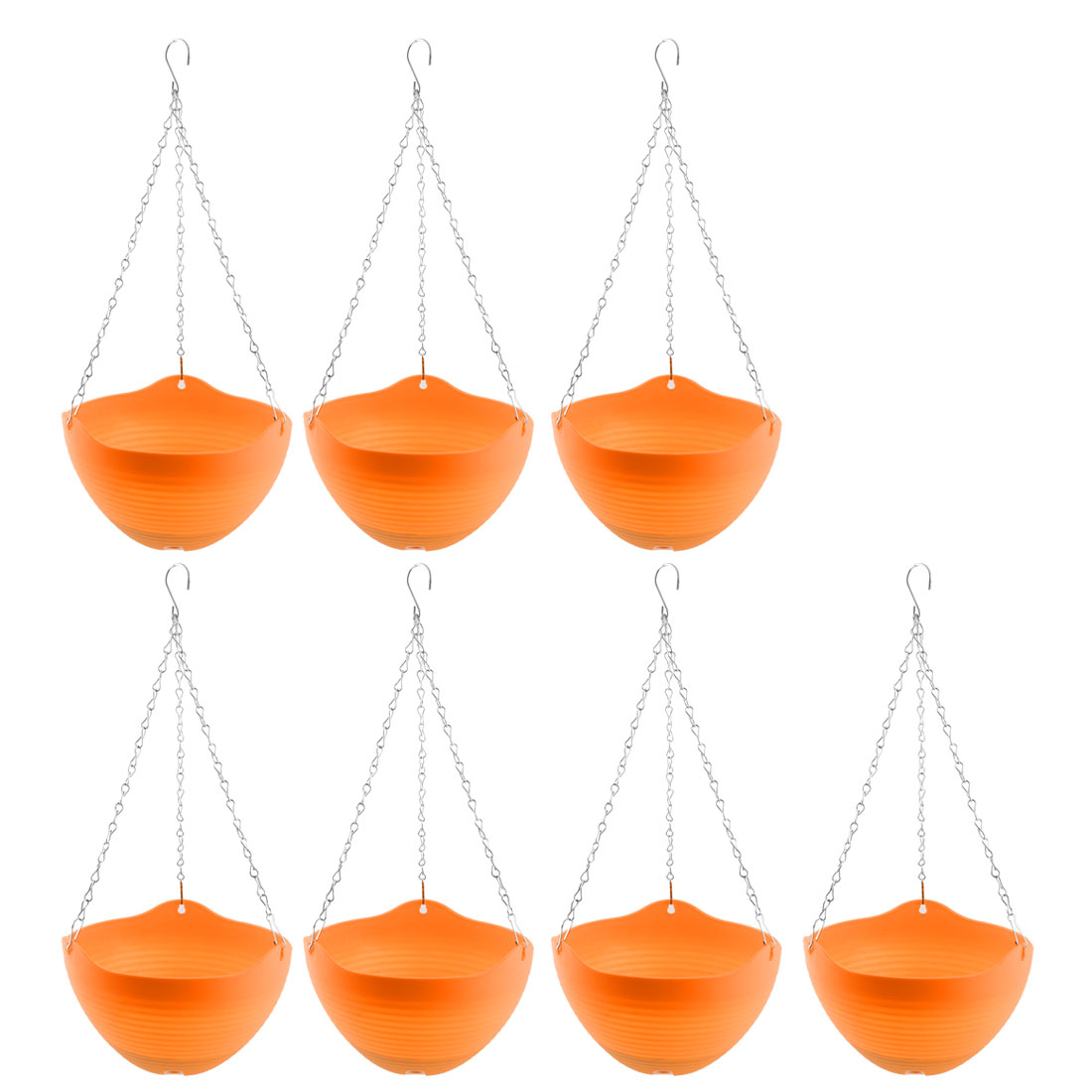 Balcony Plastic DIY Chain Hanging Flower Cactus Pot Holder Container Orange 7pcs