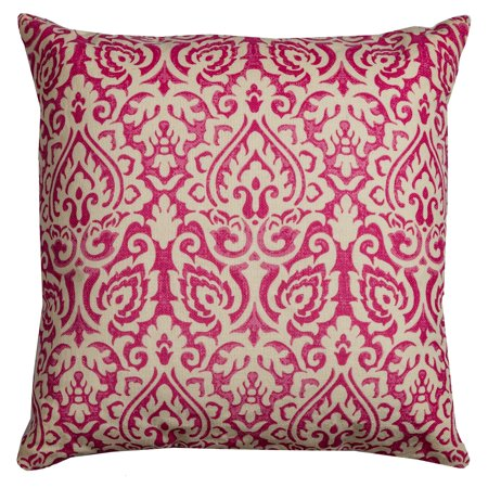 Red Ring Pillow (Rizzy Home Decorative Poly Filled Throw Pillow Damask 22