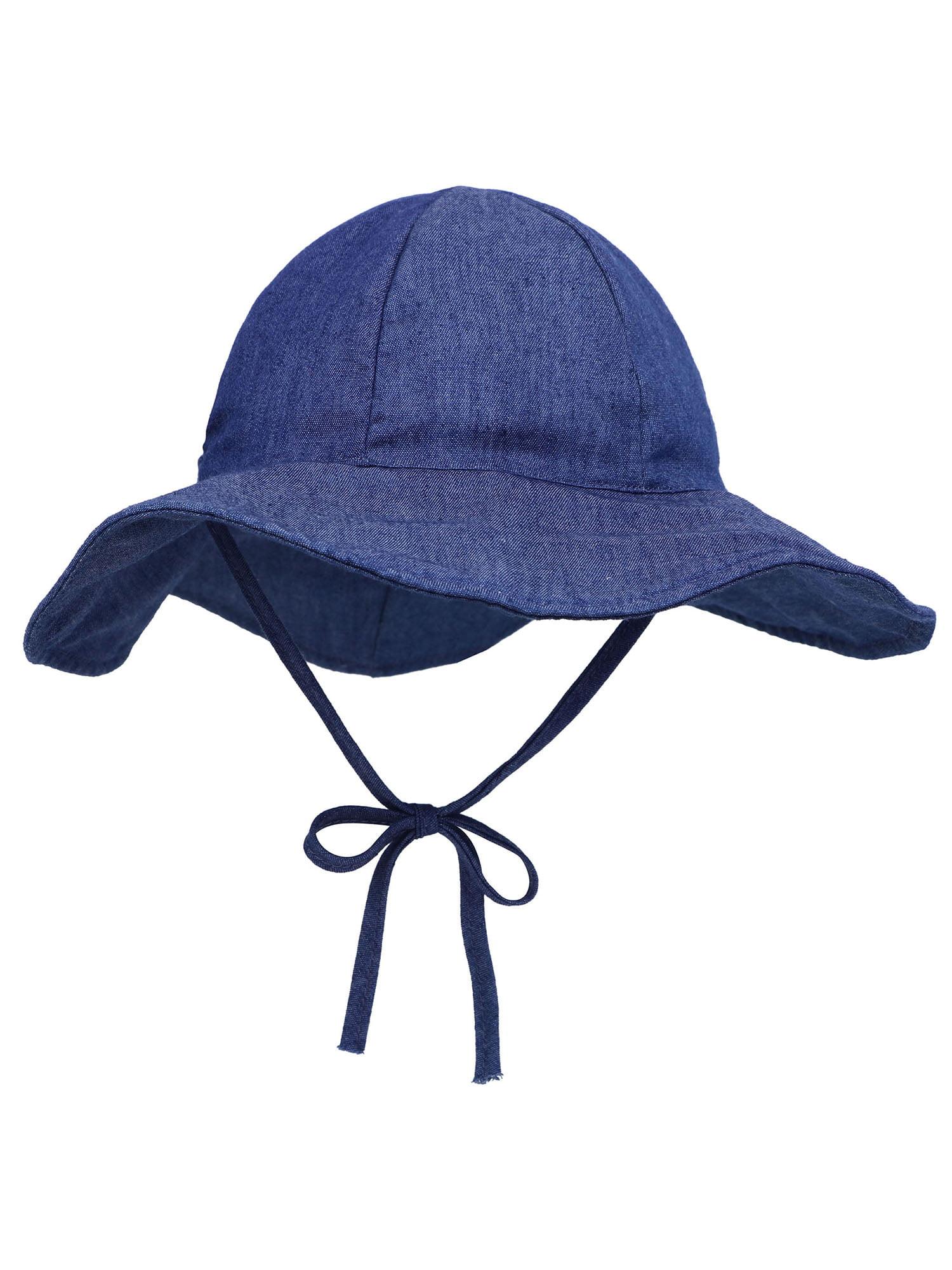 ReversibleLarge Cotton Bucket Sun Hat Blue//Red,12-24 Months Baby Boys SPF 50