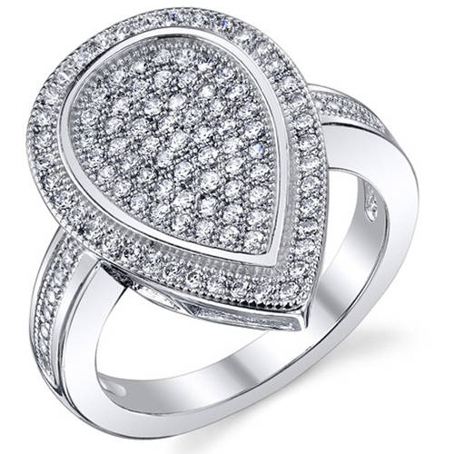 Oravo CZ Rhodium-Plated Sterling Silver Engagement Ring