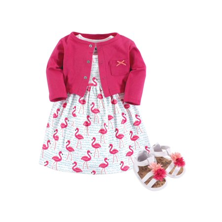 Dress, Cardigan & Shoe Set (Baby Girls)
