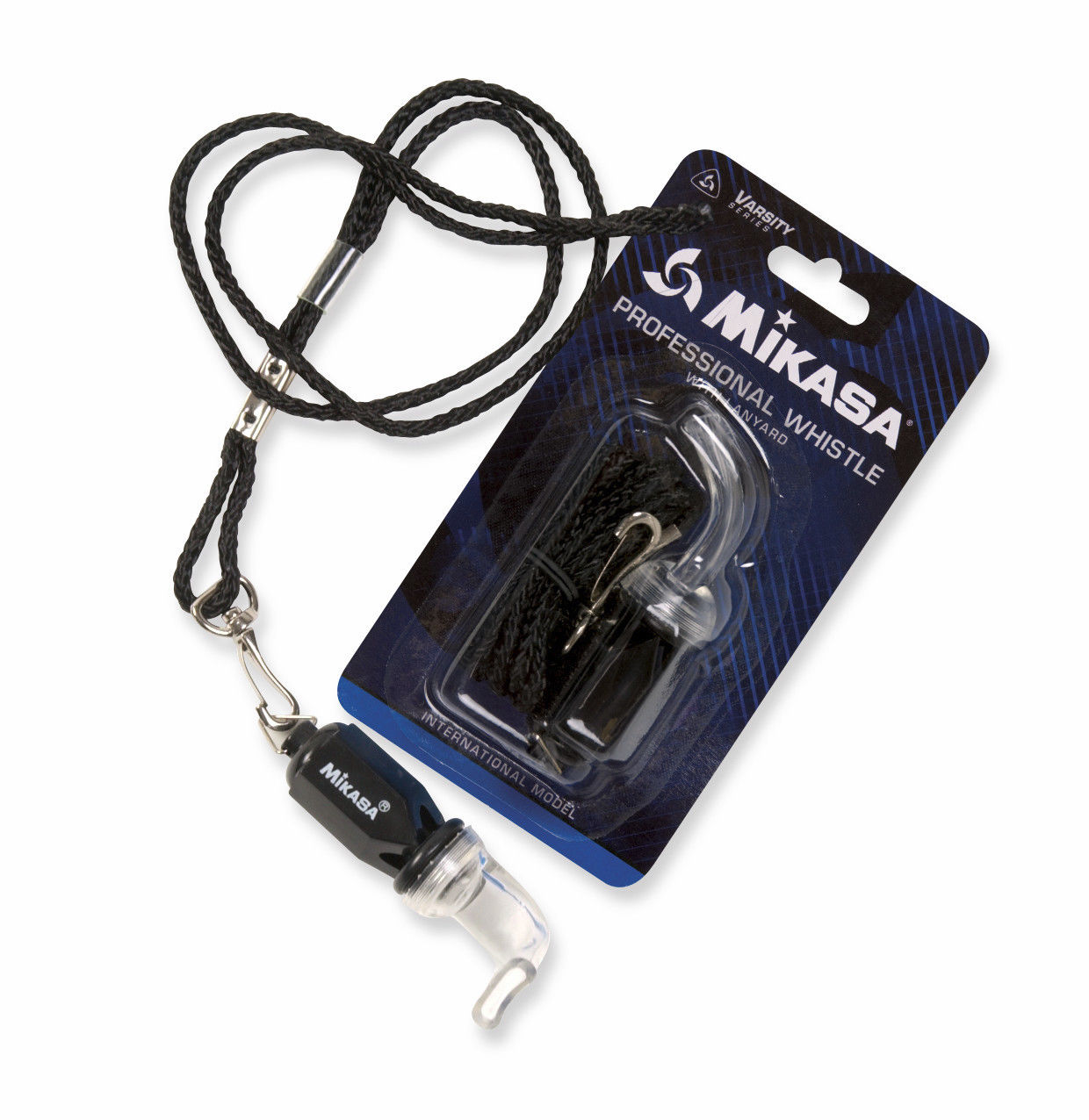 Mikasa Professional Whistle With Lanyard Referee-Coach, Soft Mouth Piece-Black