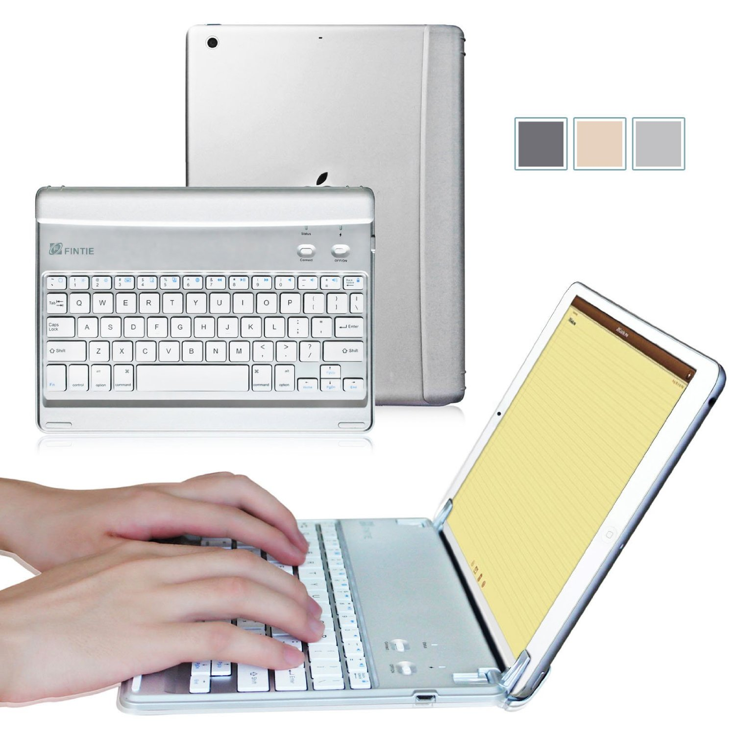 Fintie Apple iPad mini 1/2/3 Cover - Blade Z1 Slim Multi-Angle Wireless Bluetooth Keyboard Auto Wake/Sleep, Sliver