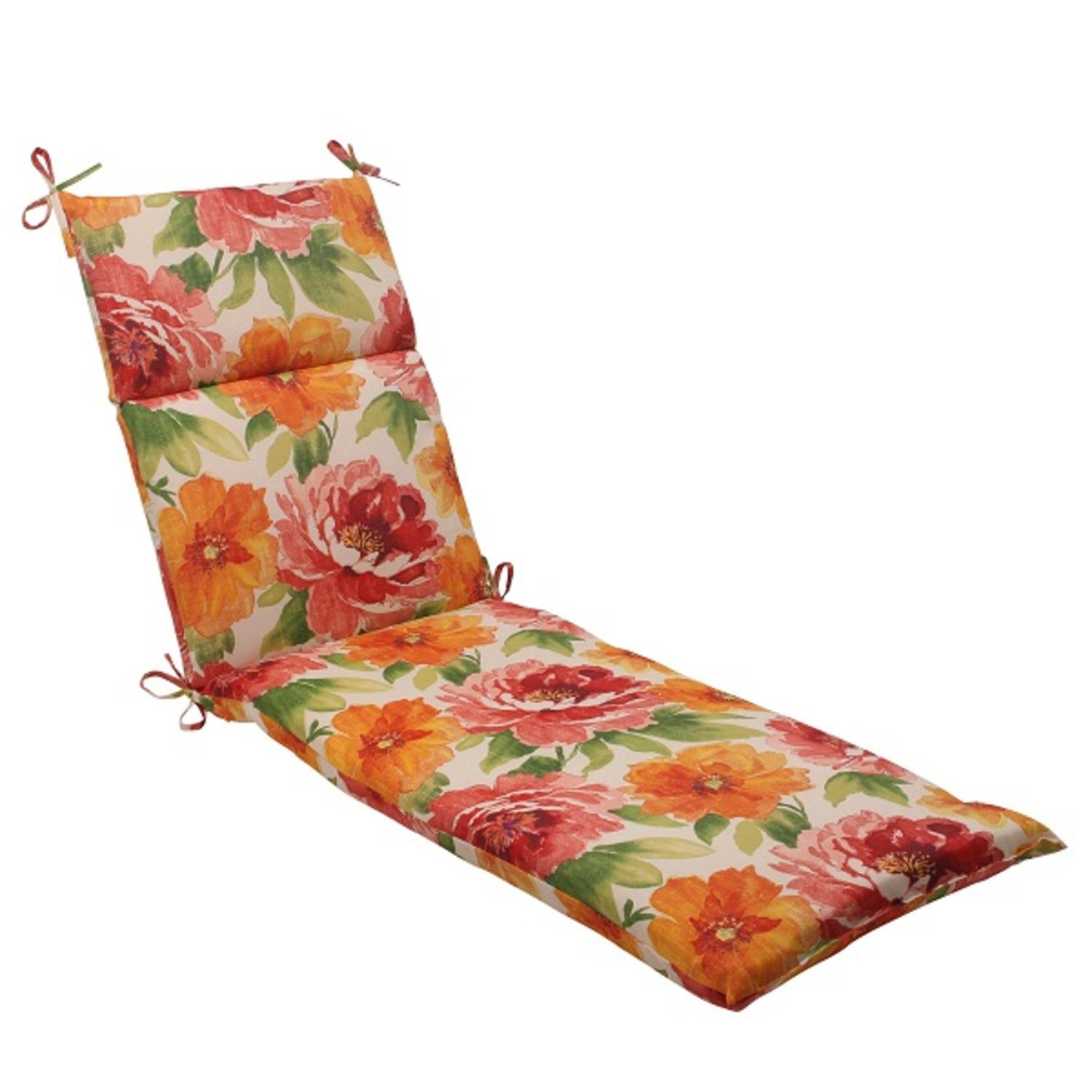 "72.5"" White Floral Splash Outdoor Patio Chaise Lounge Cushion with Ties"