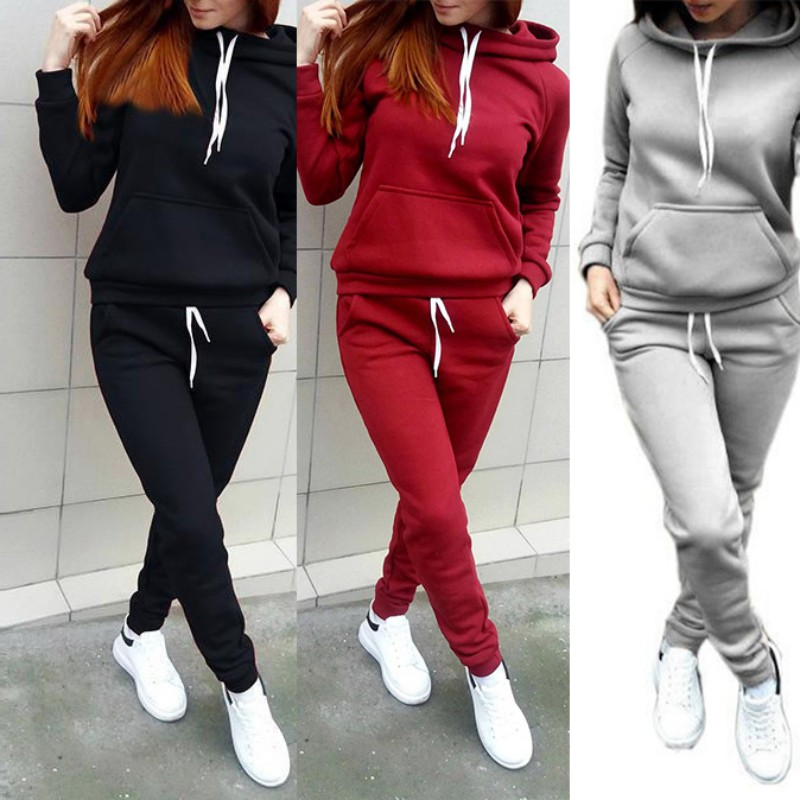 Trousers Sweat Suit Details about  /Womens Solid Long Sleeve Tracksuit Set Pollover Sweatshirt