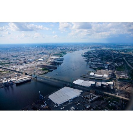 Aerial view of Walt Whitman Bridge crossing Deleware River in Philadelphia, PA Print Wall (Crossings In Pa)