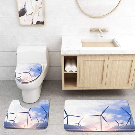 PUDMAD Clean Energy Wind Power and photovoltaic Power Generation and Energy efficient Light Bulbs to 3 Piece Bathroom Rugs Set Bath Rug Contour Mat and Toilet Lid