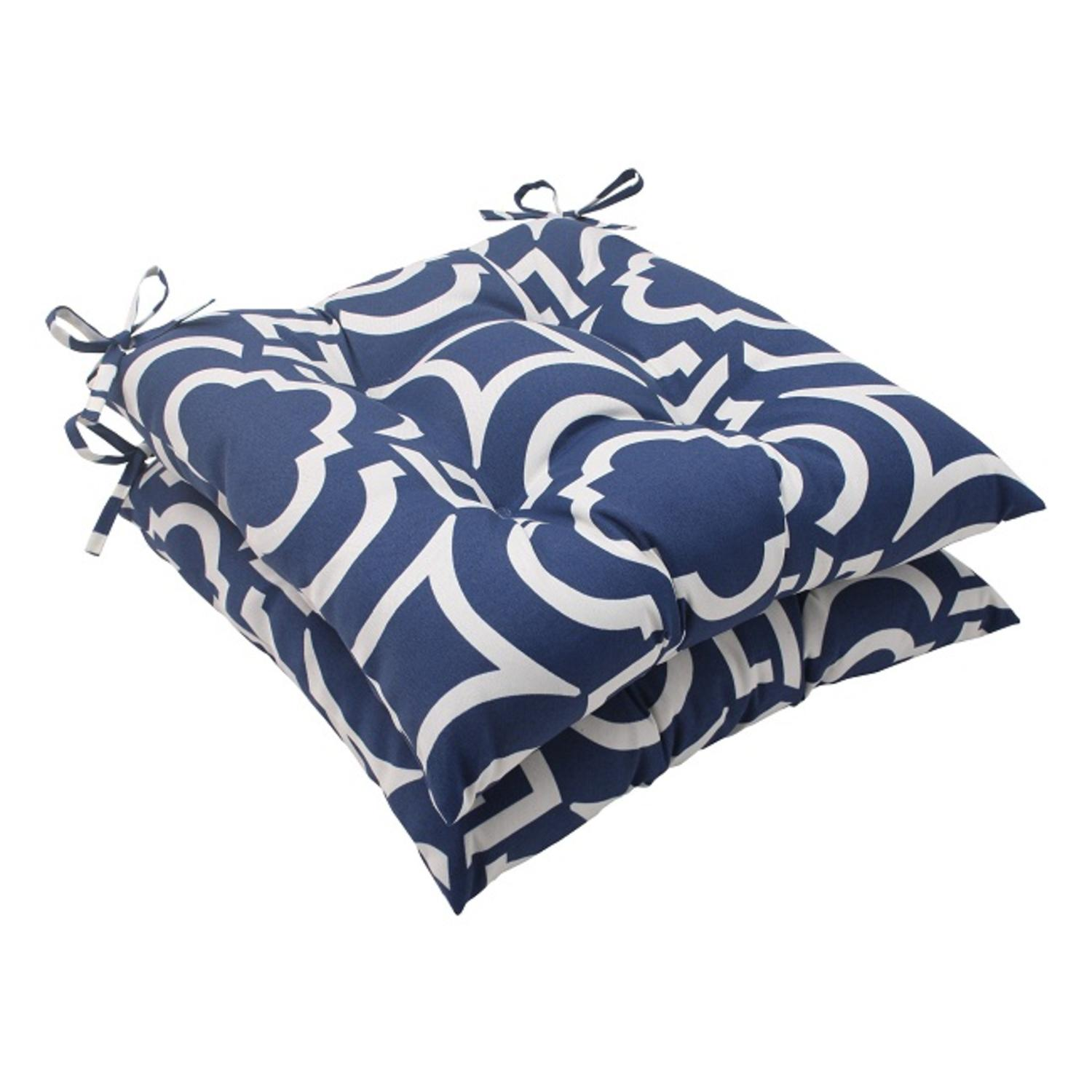 Set of 2 Geometric Navy Blue Sky Outdoor Patio Tufted Seat Cushions 19""