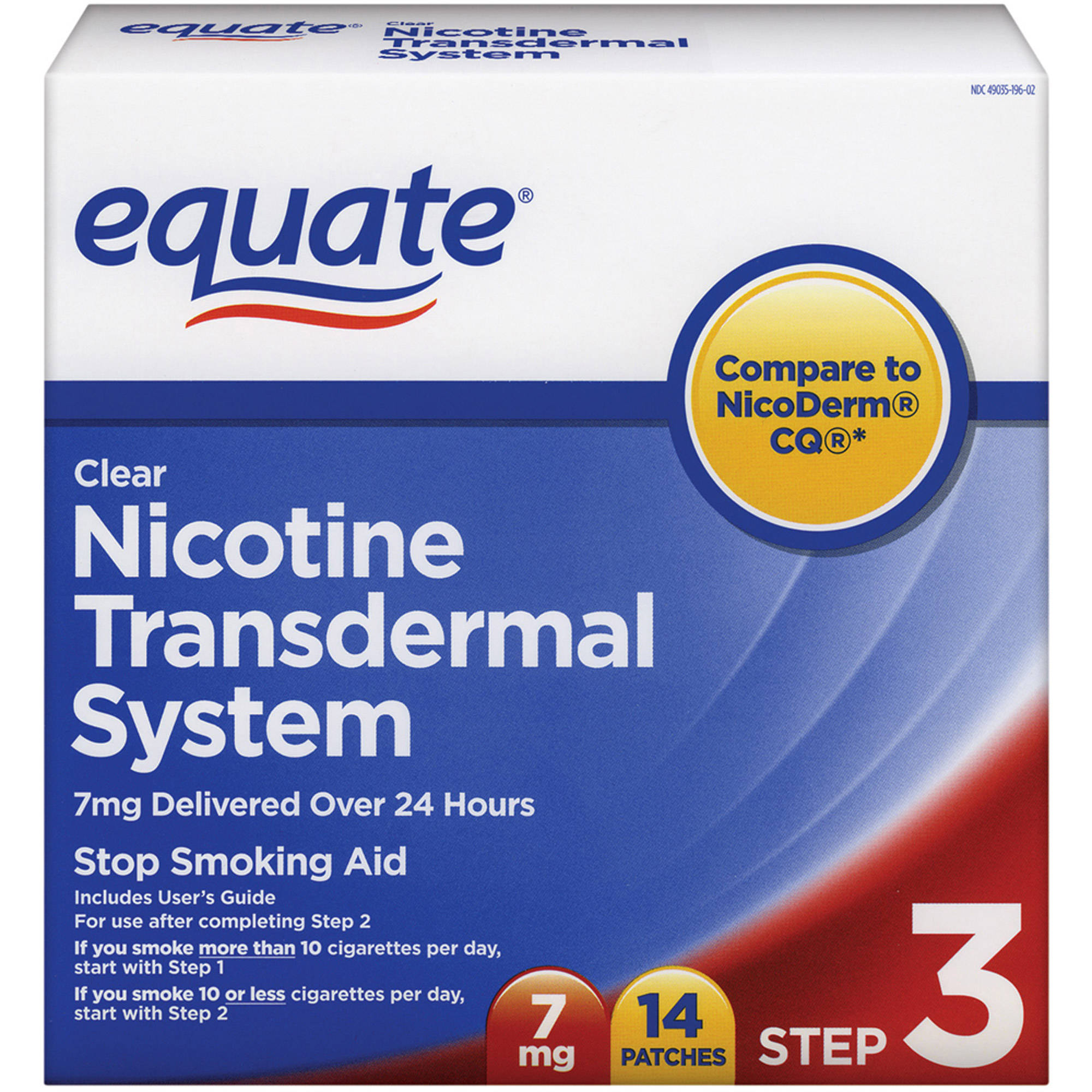 Equate Step Three Clear Transdermal System Nicotine Patches, 7mg