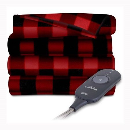 Sunbeam Electric Heated Fleece Warming Throw Blanket Red Black