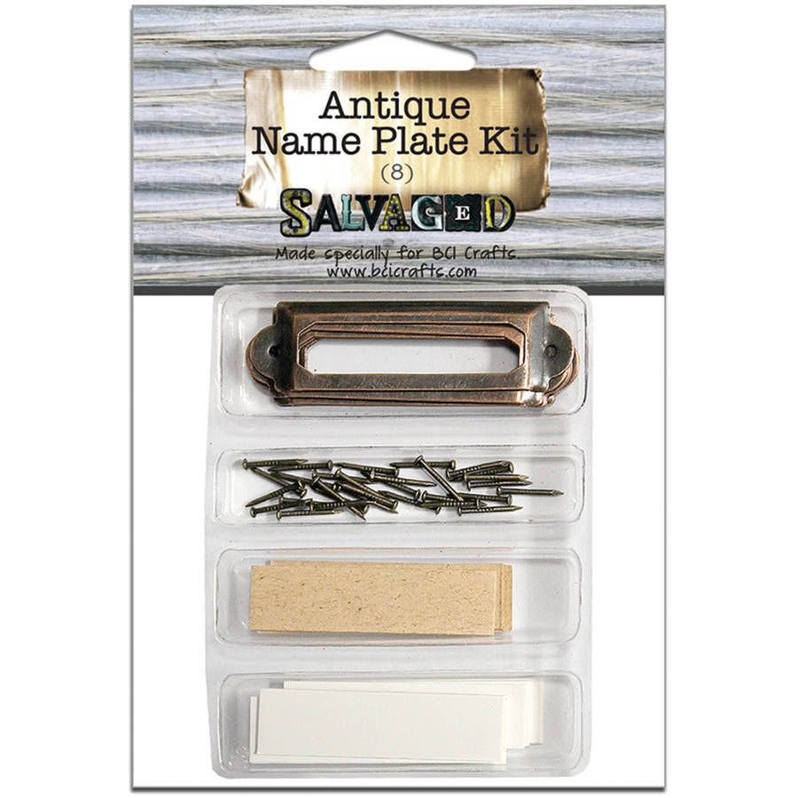 Salvaged Antique Name Plate Kit 8/Pkg-