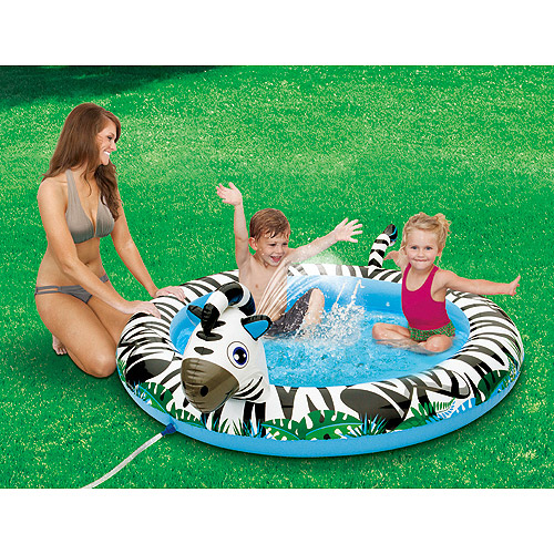 "6'1.5"" x 5'1"" Inflatable Zebra Play Swimming Pool"