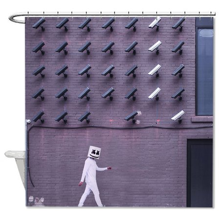 Modern Performance Art Walk Black White Security Camera CCTV Unique Shower Curtain Bathroom Tub Decoration Waterproof Bath Liner