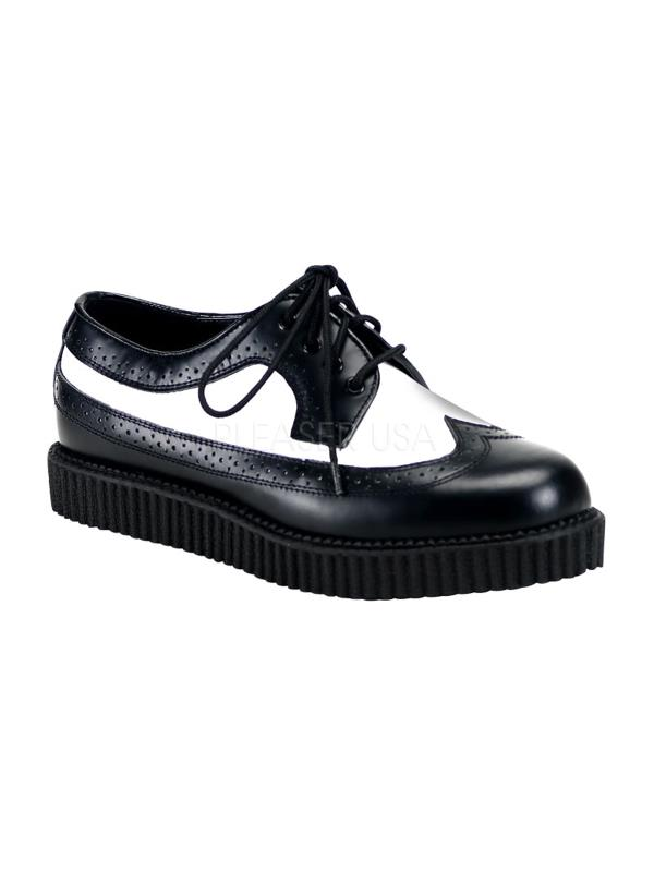 CRE608 BW LE Demonia Creepers Unisex Shoes BLK-WHT Size: 8 by