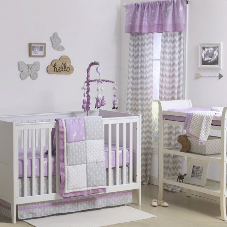 The Peanut Shell 3 Piece Baby Crib Bedding Set - Purple and Grey Woodland and Geometric Patchwork - 100% Cotton Quilt, Crib Skirt and Sheet