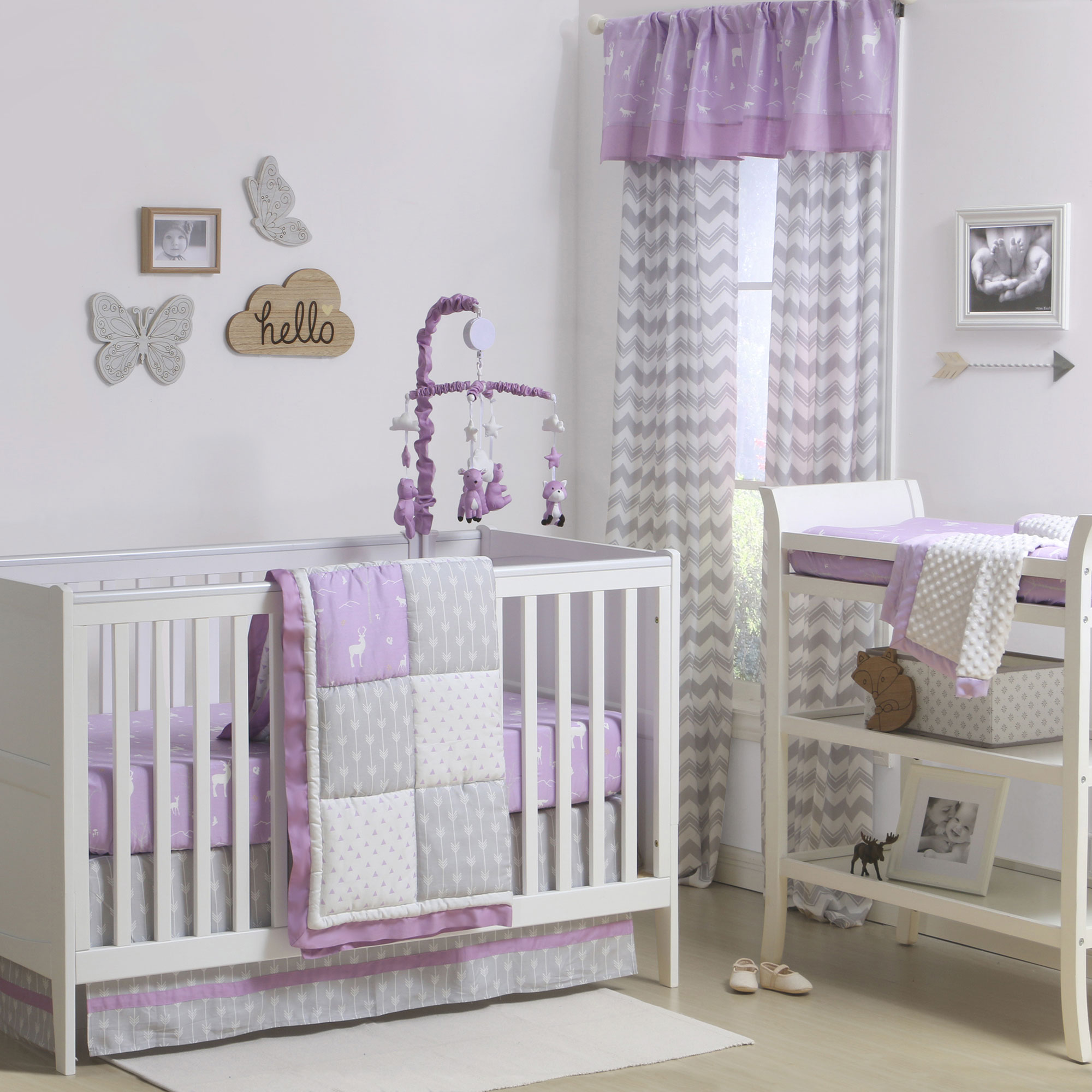 Purple and Grey Woodland and Geometric 4 Piece Crib Bedding by The Peanut Shell
