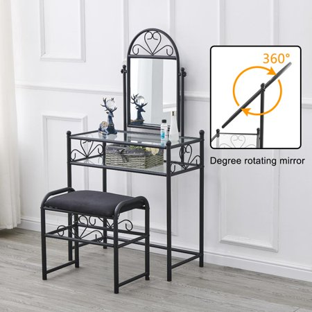 Zimtown Makeup Vanity Dressing Table with Shelf and Upholstered Stool,Iron & Tempered Glass,Black ()